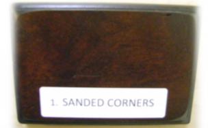 sanded corners distressing element