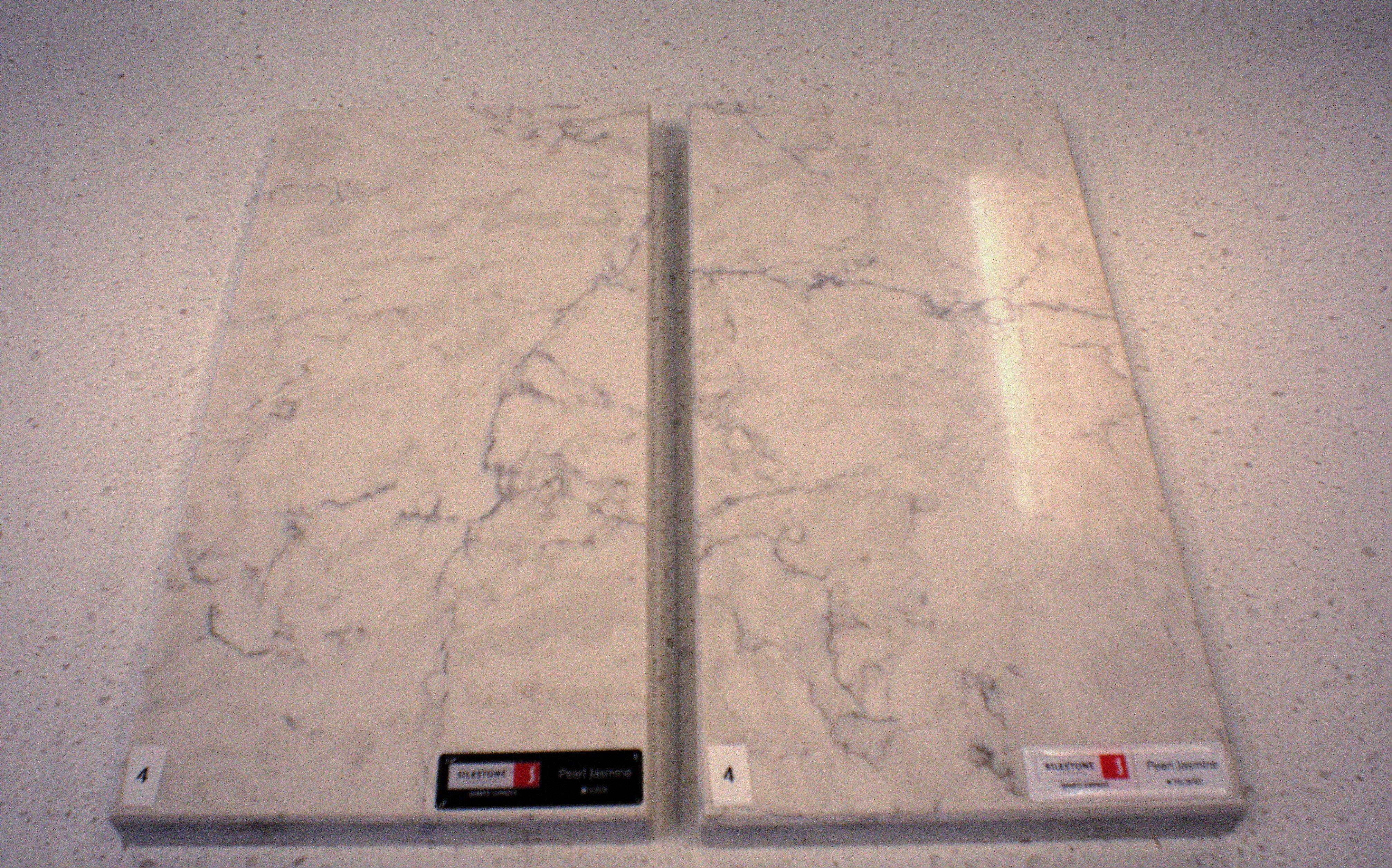 Honed vs. polished countertop sample
