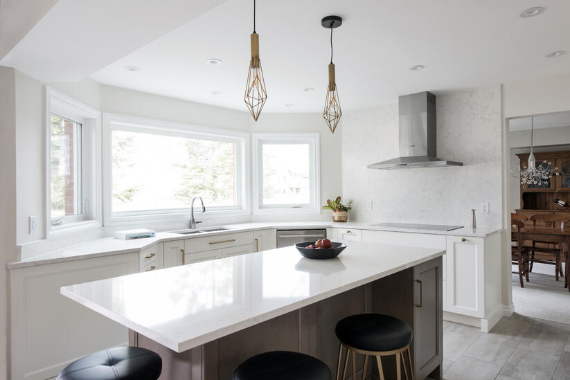 A custom kitchen featuring a polished countertop finish.