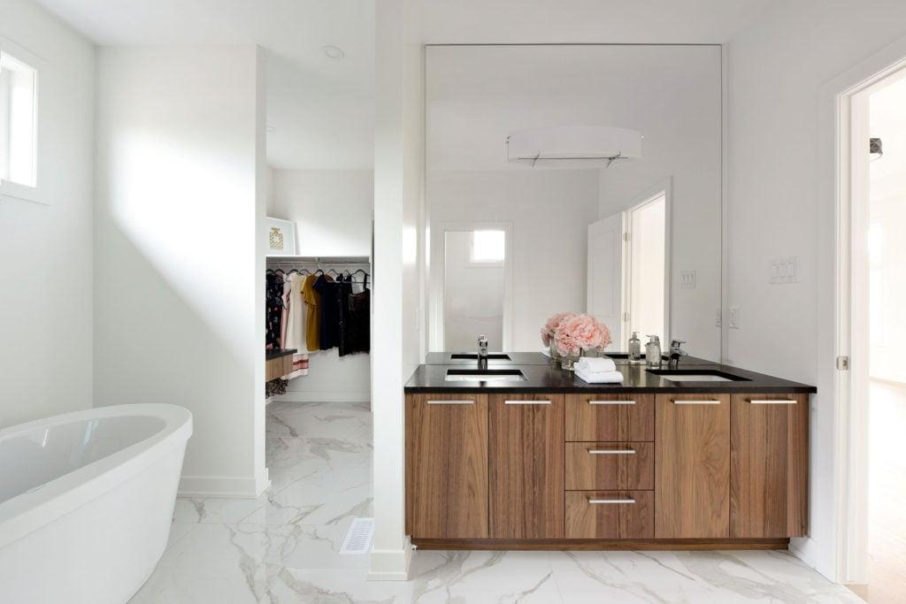 A freestanding custom bathroom vanity.
