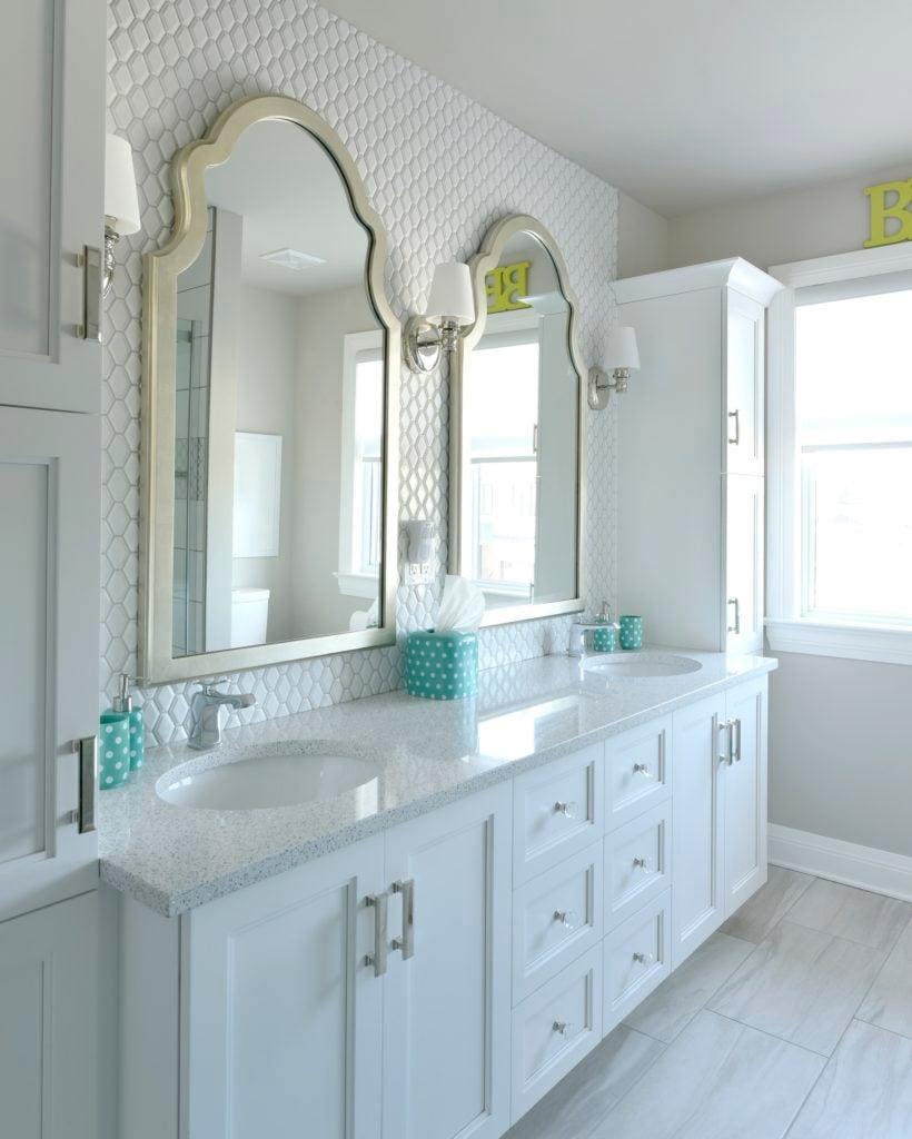 A bathroom vanity with premium hardware selections.