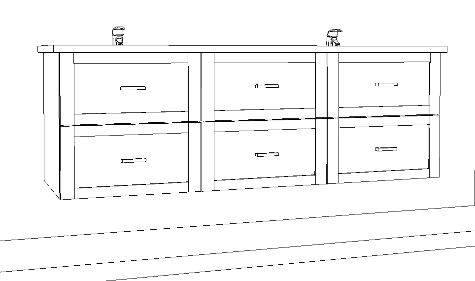 An engineered drawing of a high-end double-sink vanity