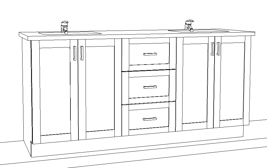 An engineered drawing of an entry-level double-sink vanity