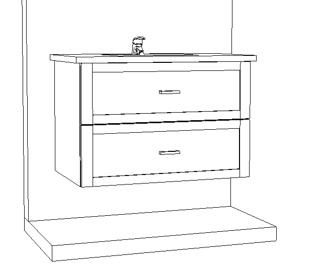 An engineered drawing of a high-end powder room vanity.