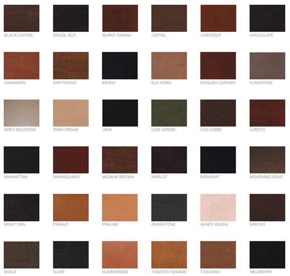 Deslaurier's extensive cabinet stain collection.