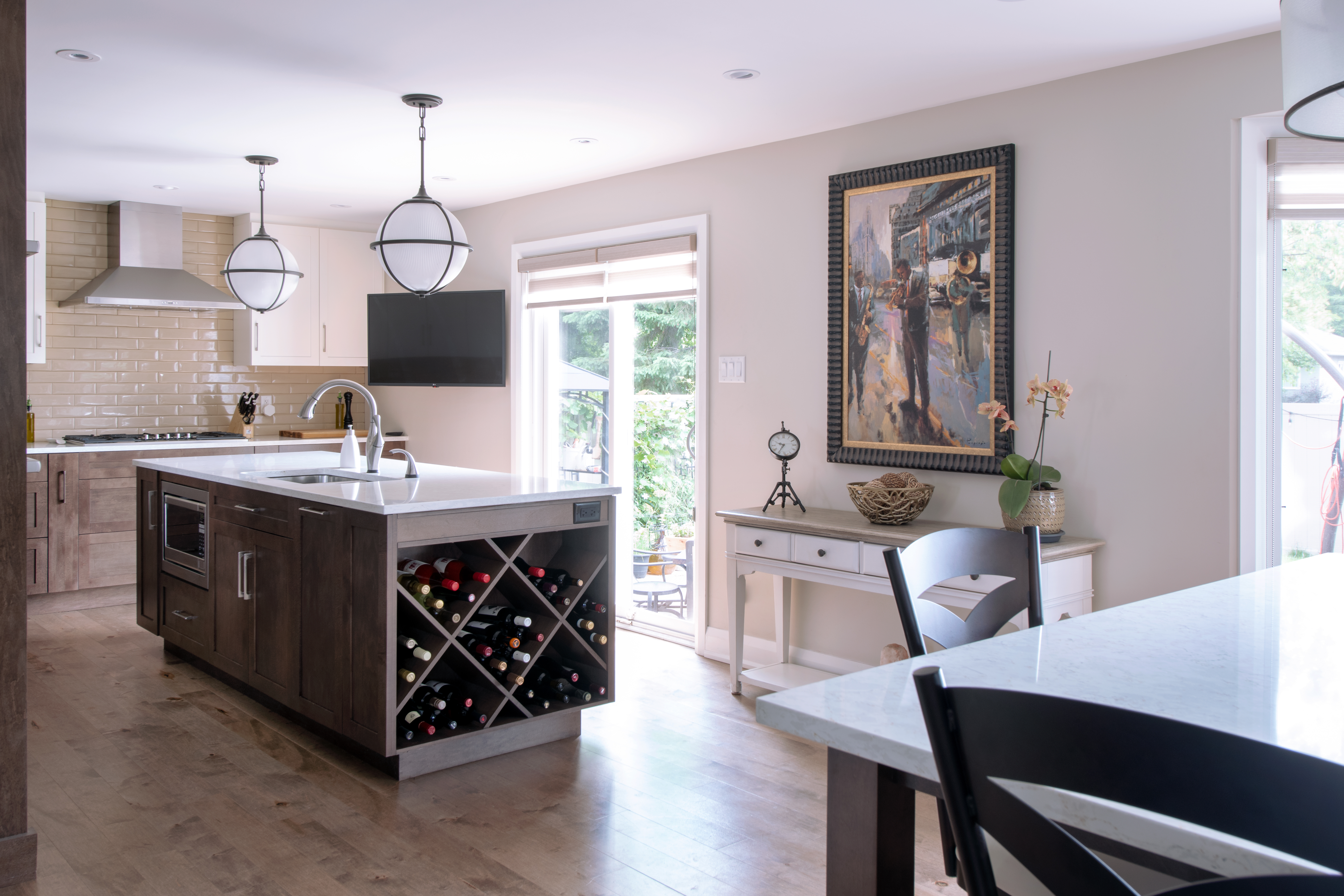 A kitchen island with a recessed toe kick.