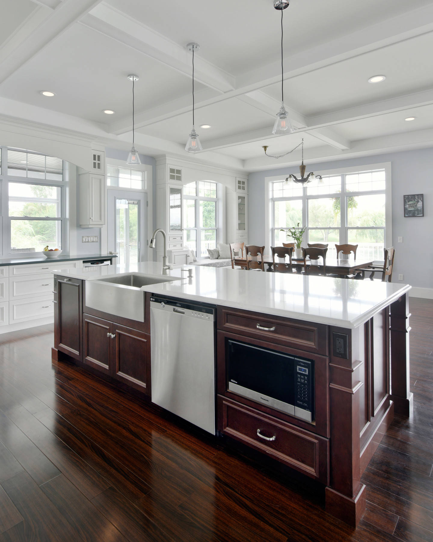 A kitchen island with cabinet legs