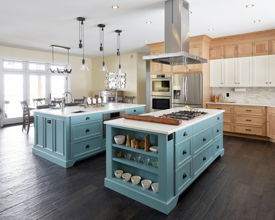 A colourful kitchen island