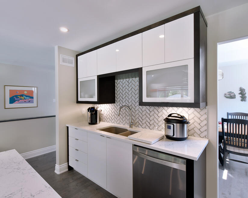 The look of inset cabinetry with frameless box construction