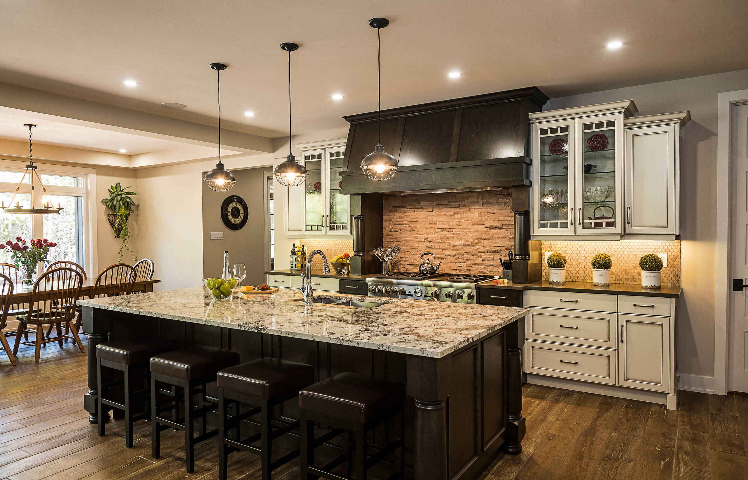 A spacious, custom traditional kitchen