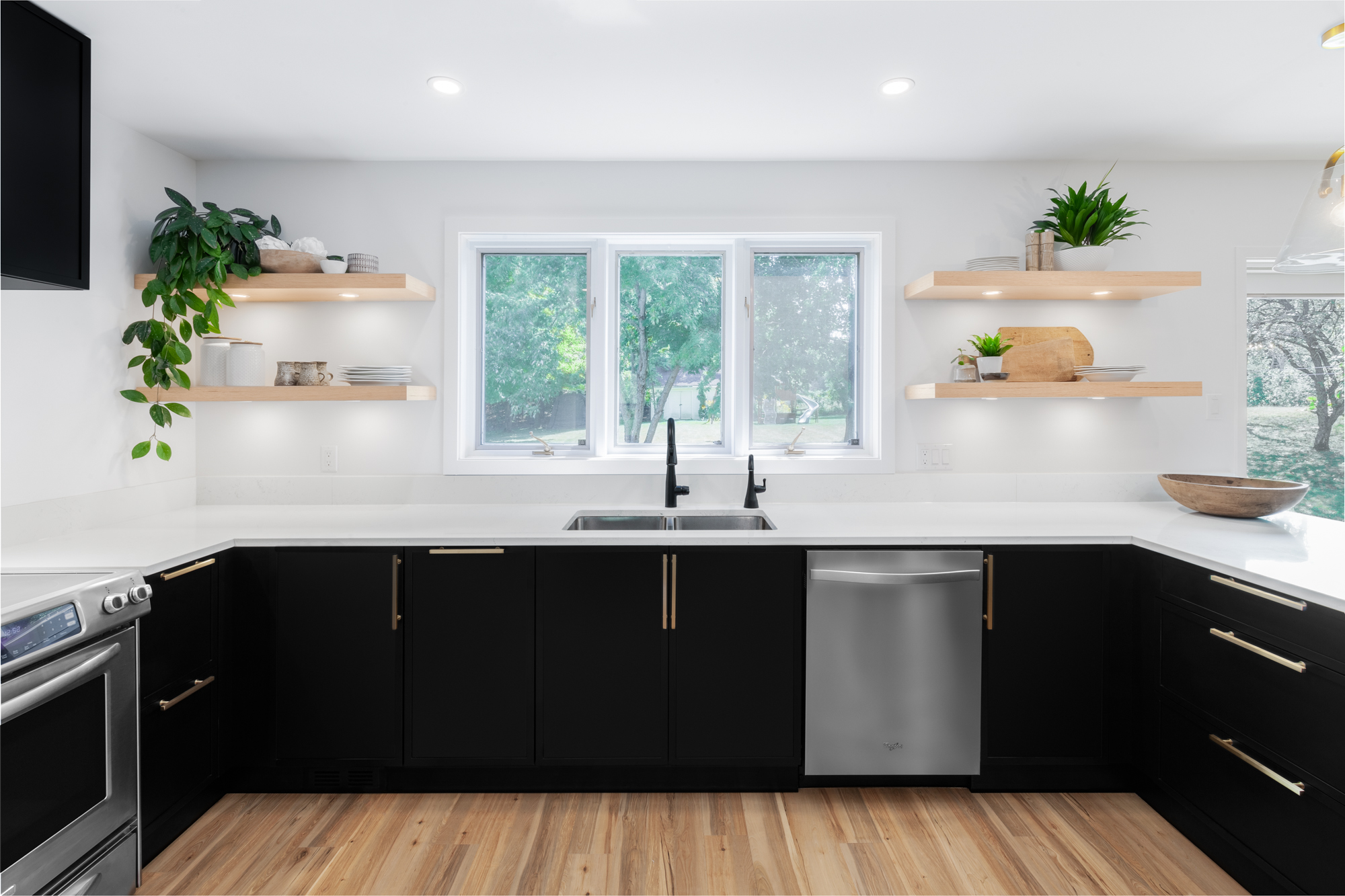 A kitchen with full overlay doors