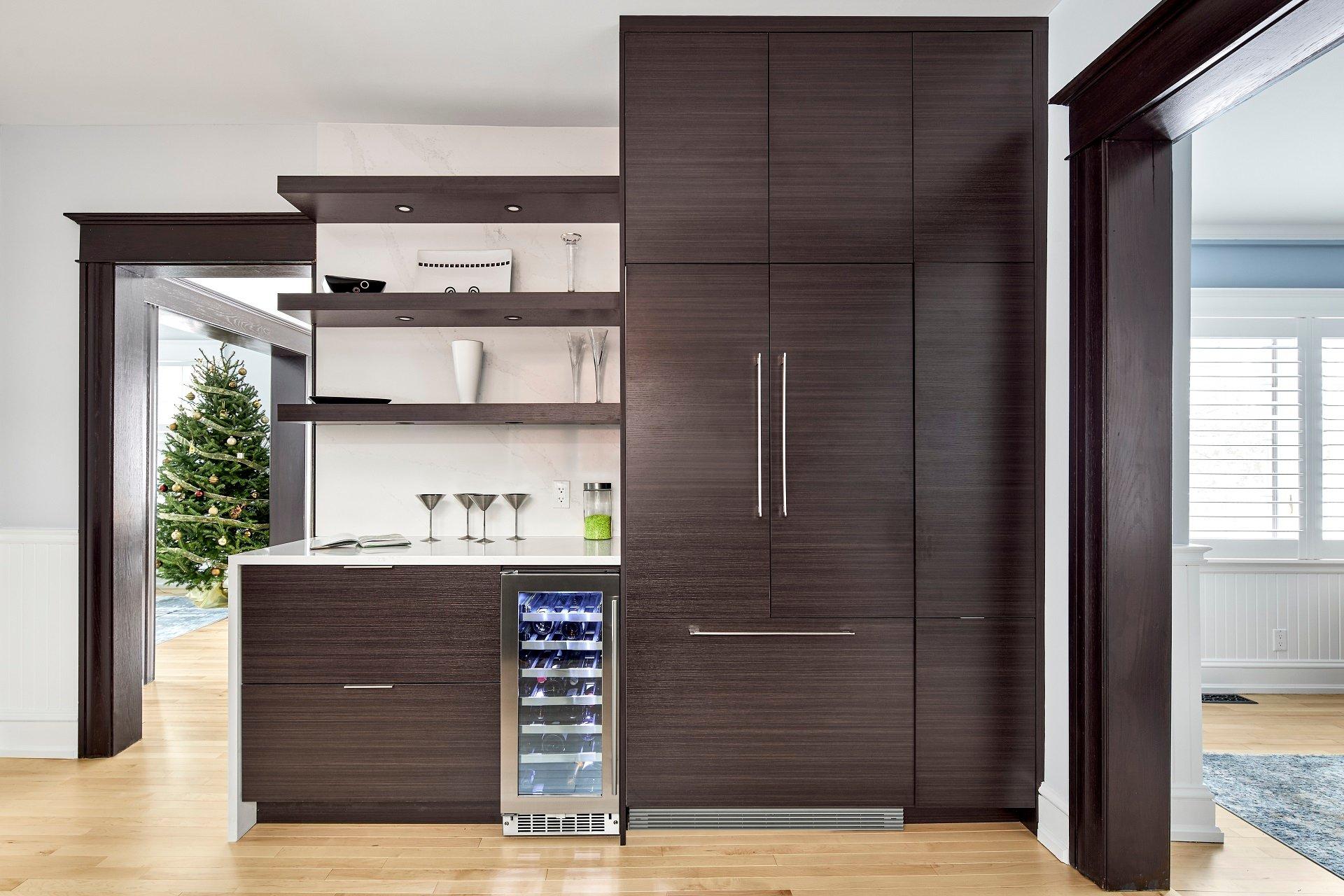 An integrated fridge in a kitchen design