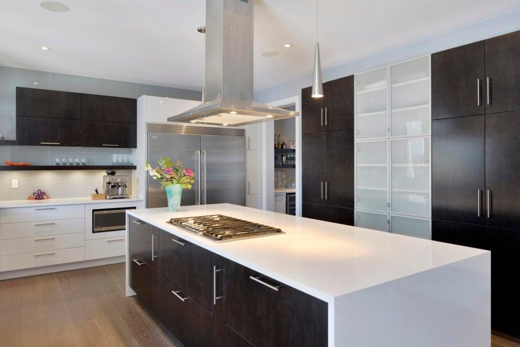 Acid-etched glass in a modern kitchen design