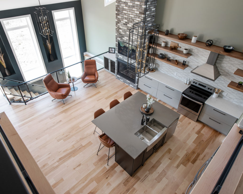An aerial perspective of a Deslaurier kitchen layout.