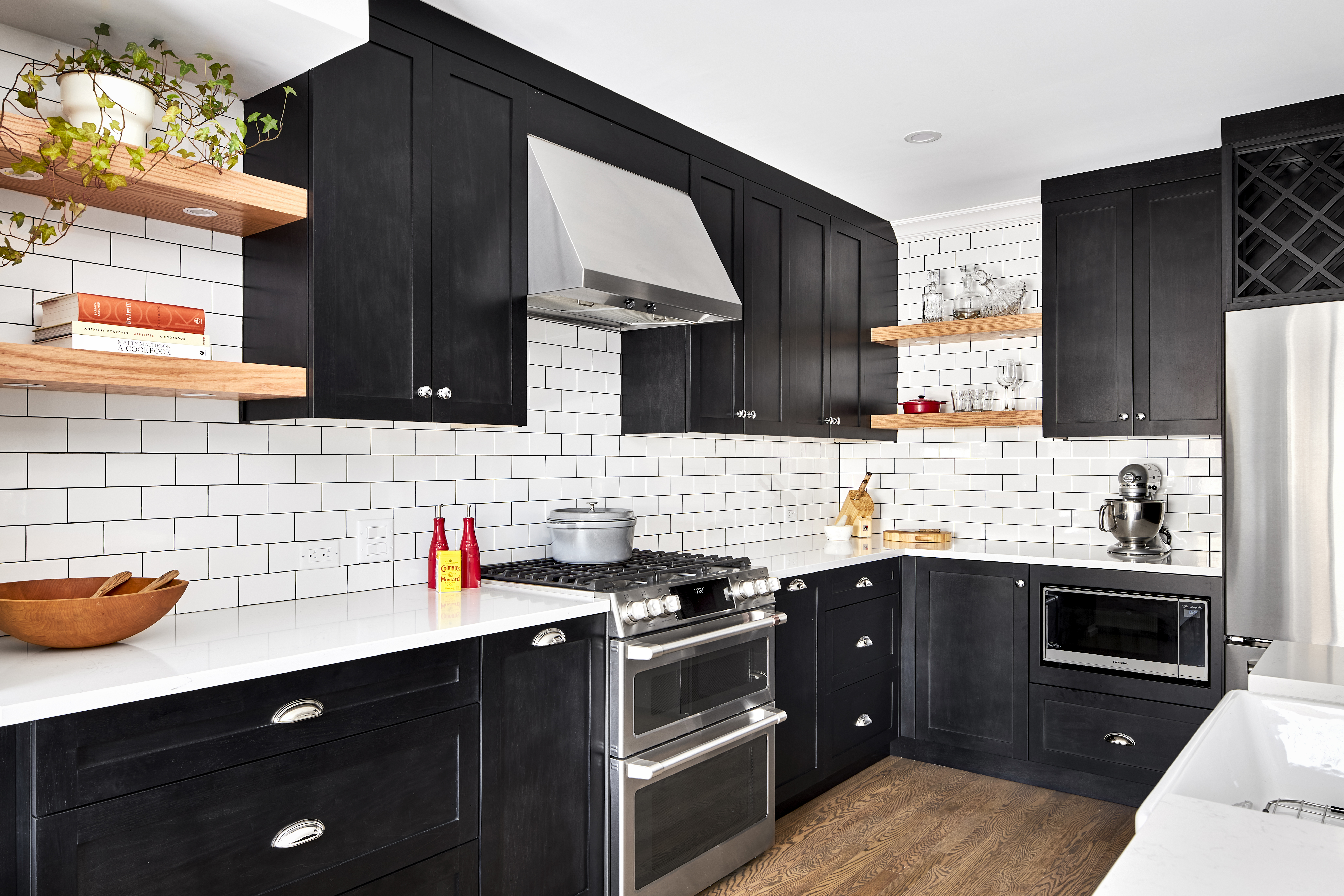 A Deslaurier kitchen with Ebony-stained cabinets.