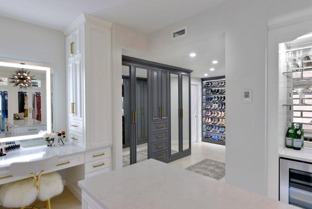A spacious custom closet design.