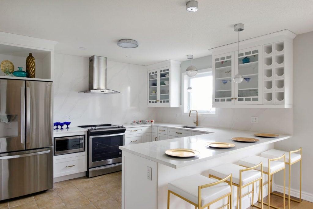 A bright white custom kitchen