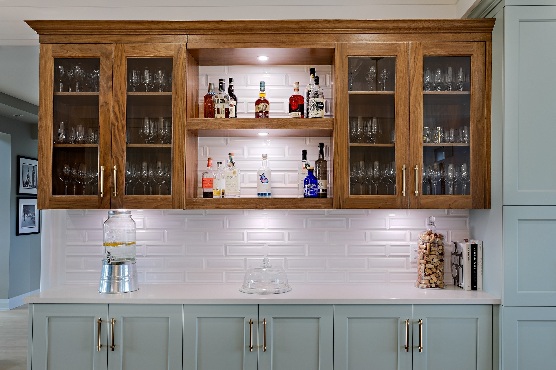 Glass cabinets used in a specialty custom wet bar