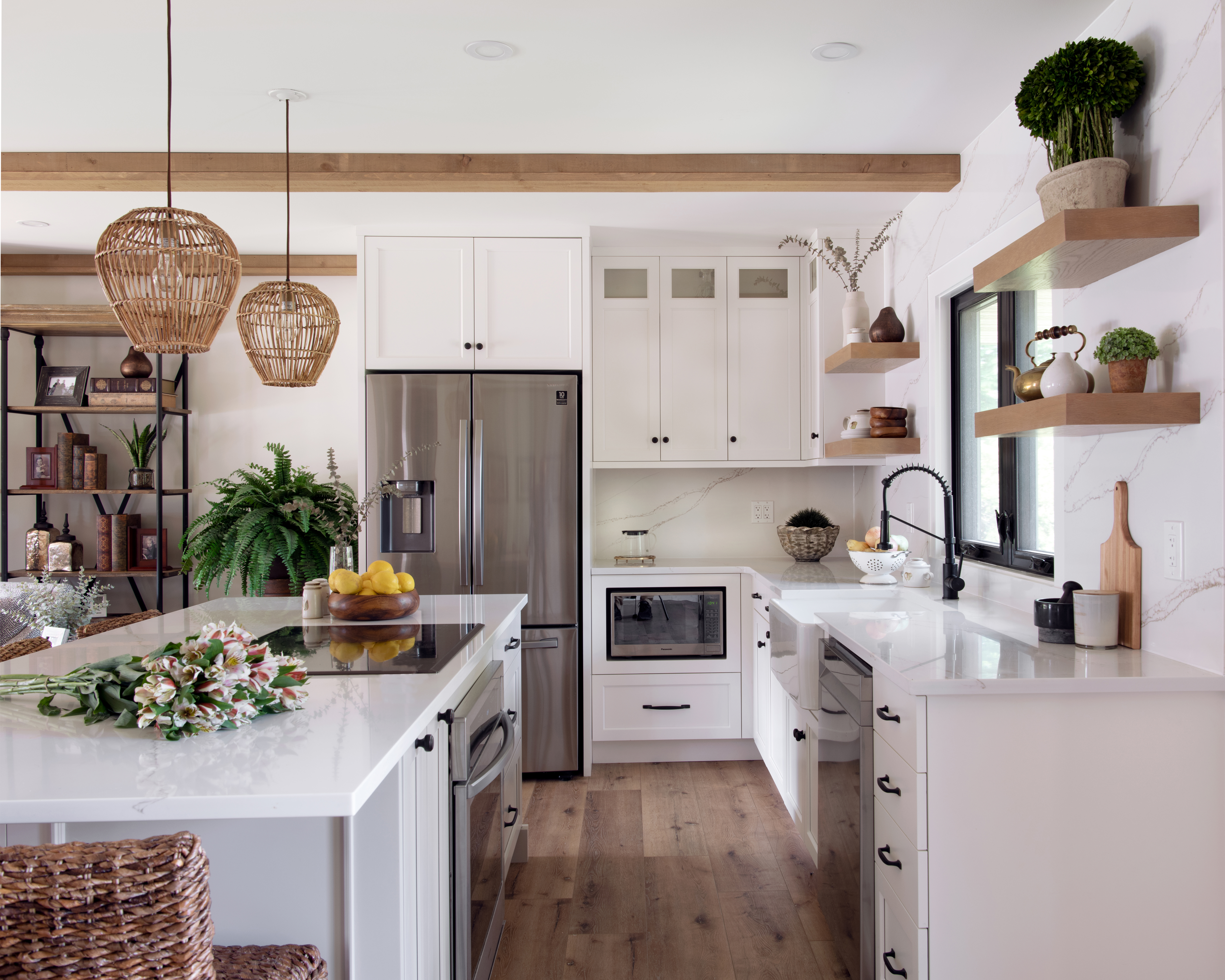A custom kitchen with painted cabinetry
