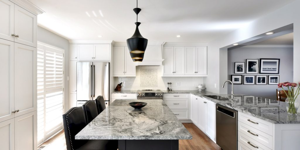 A Deslaurier kitchen countertop with a bold veining pattern.