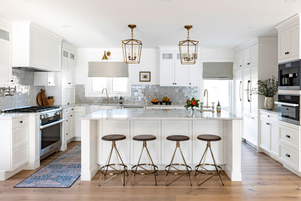 A kitchen layout with plenty of built-in accessories.