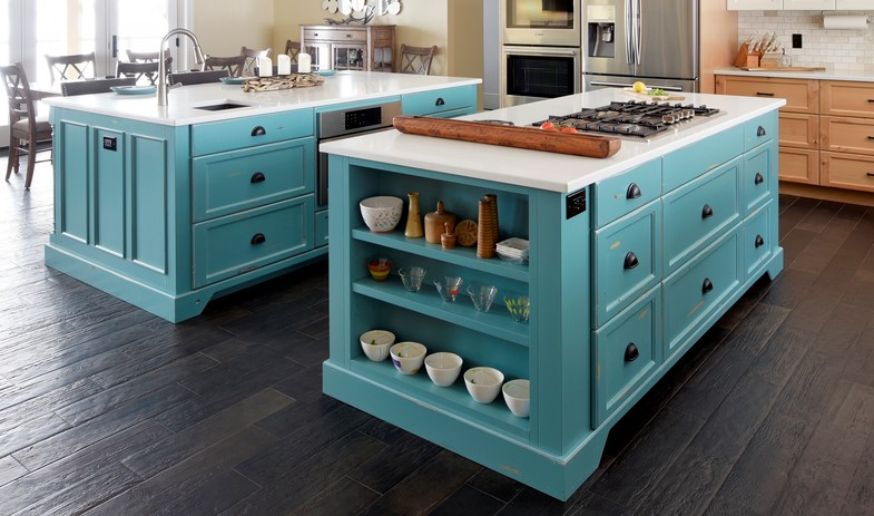 A distressed kitchen island in a custom colour