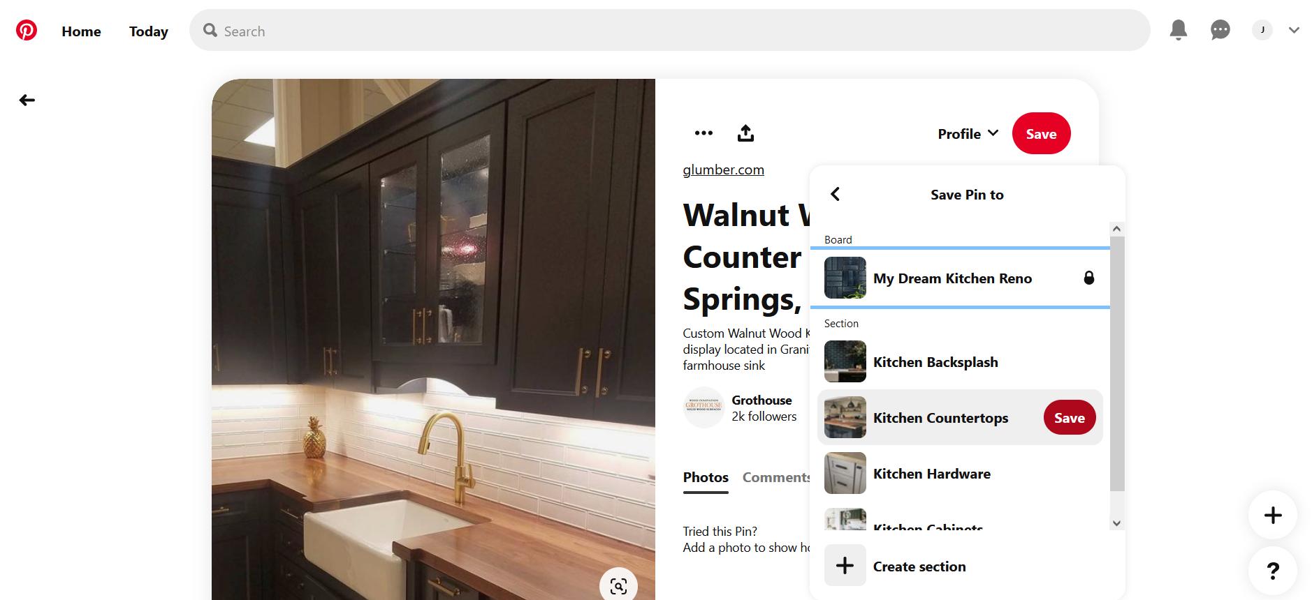 A screenshot of saving a Pin on Pinterest
